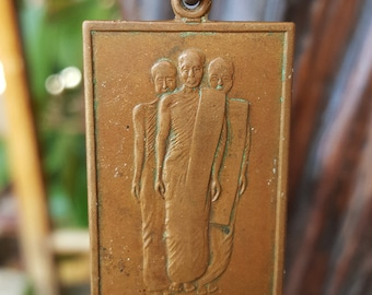 Private Collection: Solid Bronze Three Monk Necklace - Dog Tag Style
