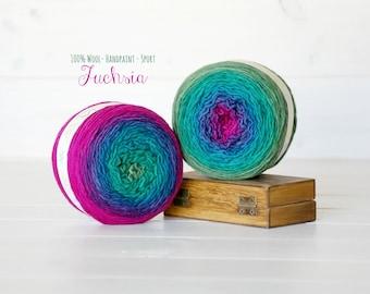 2 Hand Dyed Yarn Balls - 100% Wool - 2 Balls - Color: Fuchsia Ombre - 1Ply Sport Yarn - Colorful Soft Yarns by Freia - 2 Balls - Sport Yarn