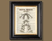 "Fine Art Print - ""Dental Braces Patent Drawing"" - 8.5""x11"", Vintage Dentist print, Orthodontist gift, Dentist gift, Dental Assistant gift"