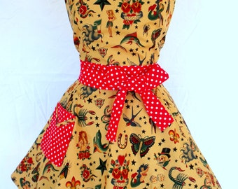 Tattoo Sailor Jerry Apron Sweetheart Style Red Polka Dot Trim Rockabilly