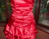red satin short bustle dress prom party clubbing halloween lined shaped bra top bodice with sparkling jewel trim uk size12  usa  size8