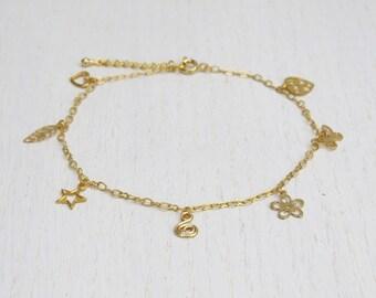 Summer SALE - Gold charm anklet, Gold ankle bracelet