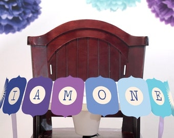 I Am One Printable DIY Highchair Banner Photo Prop INSTANT DOWNLOAD Blue Purple Teal Ombre