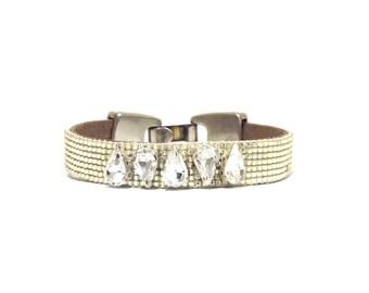 Luxury swarovski embellished bead loom bracelet - friendship bracelet, minimal bracelet, swarovski bracelet, bead loom bracelet