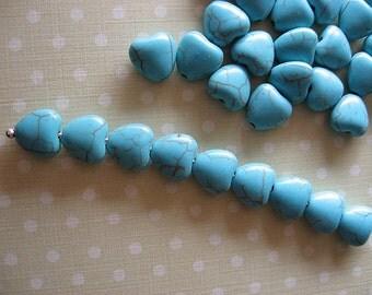 Turquoise Howlite Heart bead, heart beads, Stone beads, Stone Hearts, magnesite hearts