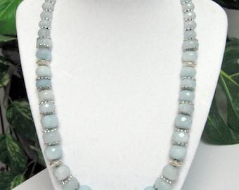 Aquamarine Statement Necklace - Milky Aquamarine Necklace - Graduated Faceted Aquamarine Necklace - OOAK Aquamarine Necklace