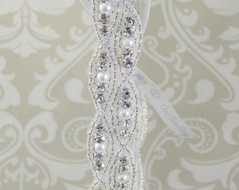 Wedding Garter - Luxe Sparkle: RHINESTONE & PEARL with Ribbon