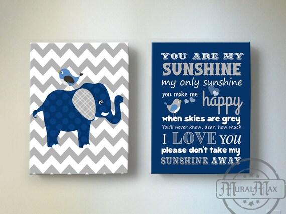 Baby Boy Nursery Decor Elephant Canvas Art, Inspirational Quote You ...