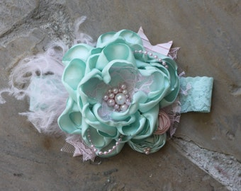 Mint and Pink and Shabby Chic Headband by Exquisite Little Lady