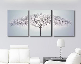 Wall Art Canvas Art Painting Tree of Life Art Wall decor Home decor ideas Original Painting Gray Paintings Blue 48x20 Original Painting
