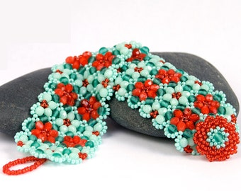 Flower Beaded Bracelet - Dynamic Teal and Red-Orange Beadwoven Crystal Cuff - Made-to-Order