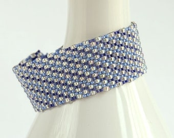 Beaded Cuff Bracelet, Iridescent White and Periwinkle Blue, Diagonal Striped Blue Beaded Bracelet, Made-to-Order