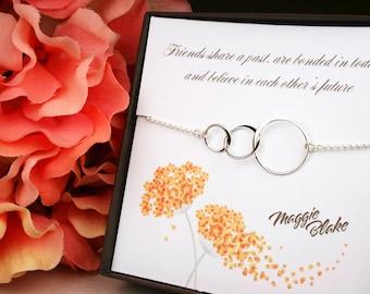 Best friends necklace, past present future necklace, 3 circle necklace, three circle necklace, friendship necklace, best friend, friend