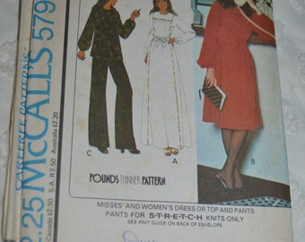Vintage 70s  McCalls 5799 Misses and Womens Dress or Top and Pants Sewing Pattern - UNCUT - Sizes 14 Bust 36
