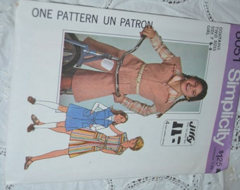Vintage 70s Simplicity 8051 Girls Jiffy Pantdress Sewing Pattern - Size 7 & 8 or Size 12 or Size 14