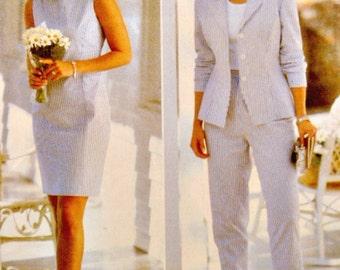 Sheath Dress Easy Sew Pattern Princess Seam Lined Jacket Narrow Leg Pants Butterick 4865 Sewing Pattern Uncut Factory Folds Size 12 14 16