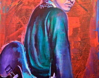 "Stevie Ray Vaughan 12""x18"" Austin Texas Music Giclee Poster Musician Guitar Celebrity Print Wall Art Colorful Abstract Pop Art"