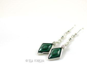 Wire Wrapped Earrings Gem Matched Bulls Eye Malachite Earrings Diamond Shape Green Stone Earrings Sterling Silver Handmade Cabochon Earrings