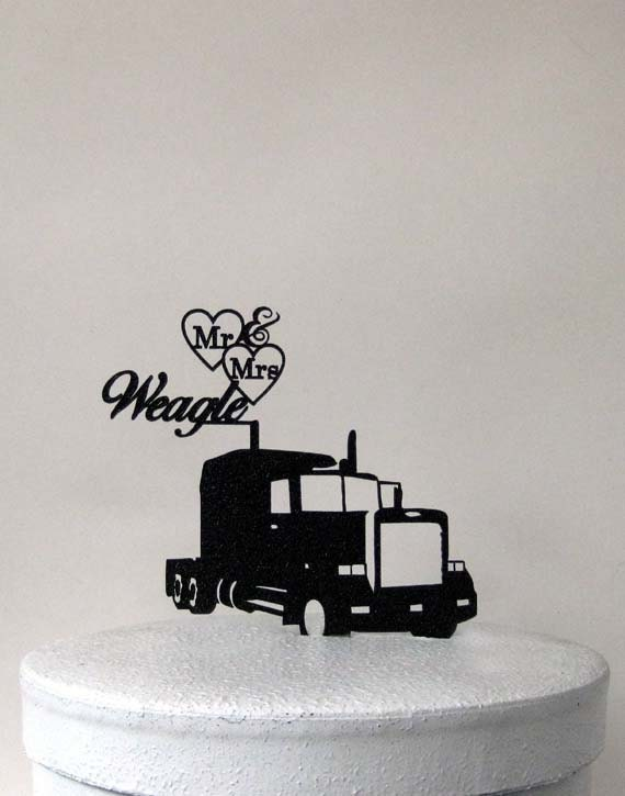 Personalized Wedding Cake Topper Truckers Wedding With Mr