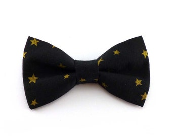 Black and gold clip on bow tie – metallic star print on cotton – adult teen size – mens or womens – star bowtie