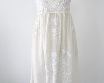 Embroidered Mexican Sundress Cotton Strapless Dress Wedding Dress Boho Dress