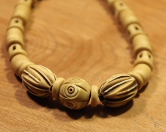 Carved Wood Beaded Necklace, #151