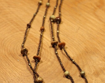 Brown Beaded with Earth Stones Necklace, item #167