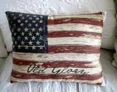 Vintage AMERICAN USA Flag Pillow, Tea Dye/White, USA, Old Glory, Americana, Patriotic, Weathered Flag, Americana Decor