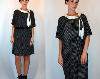 Vintage 60s Slouchy Black Dress w/ Cream Polka Dot Print. Mod Tent Scarf Neck Fringed Flapper Shift. Boho Oversized Day Dress Small - Large