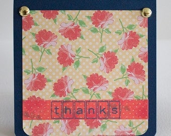 "Thank You Card- 4.25"" x 4.25"" Sized Card- Handmade- Blank Card- Navy Base with Florals and Gold Brads"