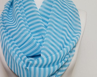 Blue Stripe Wide Infinity scarf, Loop Scarf, Scarves, Shawls, Spring - Fall - Winter - Summer fashion