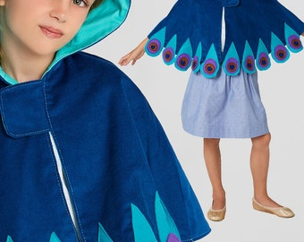 Cape pattern, Costume pattern, Cape Sewing Pattern, Halloween Pattern, pdf Sewing Pattern,  PEACOCK CAPE