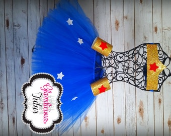 Wonder woman inspired tutu set | Super Hero tutu| Adult tutu| Newborn- Adult listing!