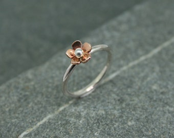 Silver and copper daisy ring, flower ring, daisy ring, friendship ring, silver ring, handmade ring, copper flower ring