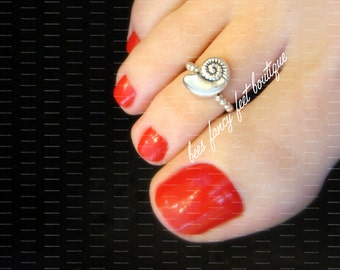 NEW! Toe Ring - Silver Shell Stretch Bead Toe Ring