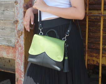 Green leather bag, tote bag,women, green handbag, free shipping, purse,wristlet,clutch