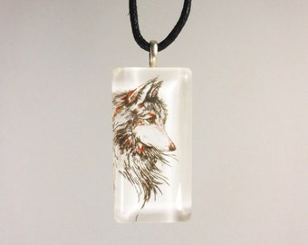 Wolf Necklace, Wolf Jewelry, Art Jewelry, Lupine Necklace, Art Pendant, Glass Tile Necklace, Art Jewelry, Animal Art, Wolf Art, Wolf