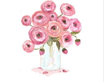 Original Ranunculus Watercolor, Floral Vase Series, Ranunculus  Original Watercolor Print, Watercolor, Pink Ranunculus Painting,