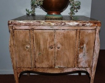 Shabby Victrola Cabinet Pink Brown Chippy Re-purposed Distressed Up-cycled Vintage