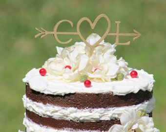 Gold Wedding Arrow Cake Topper - Decoration - Initials Arrow Cake Topper - Beach wedding - Bridal Shower - Rustic Country Chic Wedding