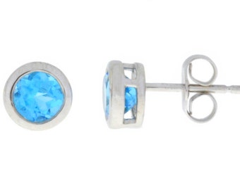 1 Ct Natural Blue Topaz Bezel Stud Earrings .925 Sterling Silver