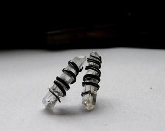 Quartz Spike stud earrings - Black earrings oxidized silver studs sterling silver