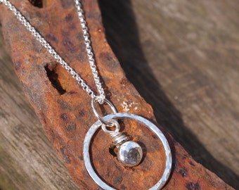 sterling silver necklace pendant, nugget, ring pendant, chain options available, handmade by arc jewellery uk
