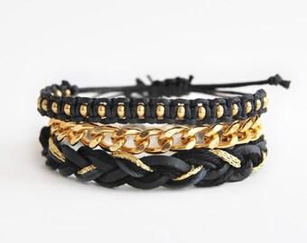 Black bracelet set, black arm candy, set of three bracelets, black and gold bracelet stack