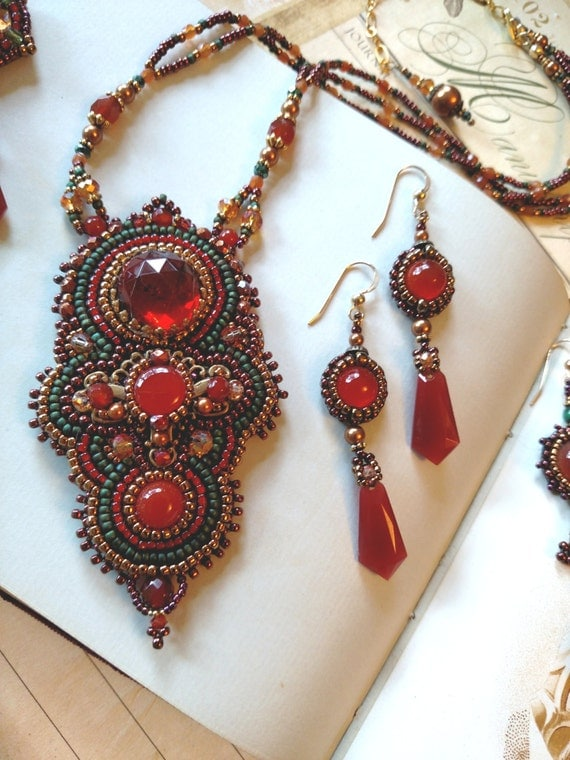 Bead embroidery necklace jewel tones carnelian by - What are jewel tones ...