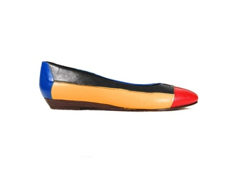 Size 5.5 Color Block Slip On Wedges / Red, Yellow, and Blue // G317