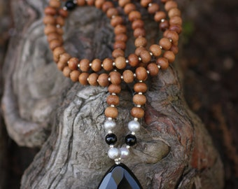 Onyx and  Sandalwood  Mala  Meditation Inspired Yoga Beads