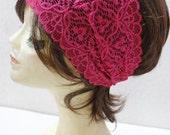 Pink Stretchy Lace headband ,Turban Headband Twist Stretchy Hair Bands, - Bohomian Headband Lace Turban Head Scarf
