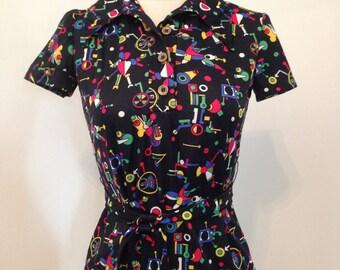 Vintage 1960's 70's black pop art mod print butterfly collar shirt with belt S