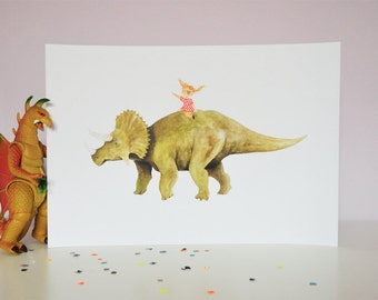 Pirate girl riding triceratops large poster print // dinosaur illustration // wall art // children room